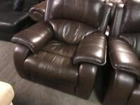 Top quality brown leather 3 11 recliner sofa set