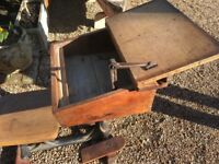Original School Desk with Seat Attached and Original Inkwell