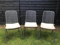 3 outdoor garden chairs with seat pads .