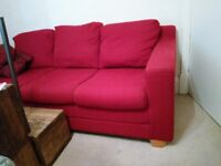 3 Piece suite in Red (3 seater Sofa & two chairs)