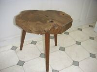 3 legged stool with solid olive wood top