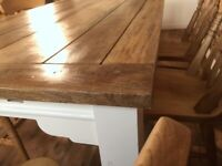 Extendable Dining Table Set with Antique Chairs Up to Twelve Seater Rustic Farmhouse
