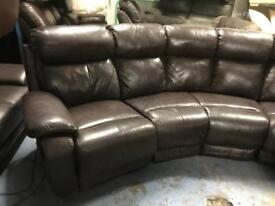 Ex display curved leather sofa