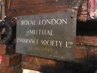 .Antique Royal London mutual insurance metal sign/plaque