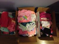 3 lg boxes of Newborn , 0-3 and 3-6 months baby clothes