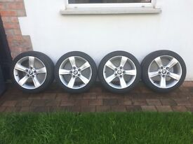 """Genuine and Real BMW 17"""" Alloy wheels with full tread on tyres"""