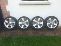 "Genuine and Real BMW 17"" Alloy wheels with full tread on tyres"