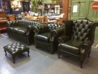 NEW Chesterfield Suite 3 Seater Sofa Wing Back & Club Chair, Stool in Green Leather - UK Delivery
