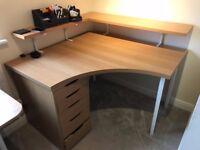 Ikea furniture: Desk and drawer unit 120 x 120cm