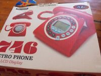 etro vintage style RED corded phone LCD/digital display - BRAND NEW IN BOX
