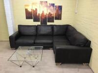 Comfy Large Brown Leather Corner Sofa