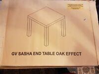 2 boxed end oak effect end tables