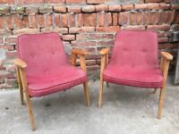 Set of Vintage PINK LISTENING 60s CHAIRs Quirky Furniture Seat Retro Decor Mid-Century