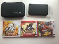 3DS XL Black / Case / Charger / 3 Boxed Games