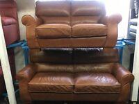 ScS New/Ex Display Tan Leather 3 Seater Sofa + 2 Seater Sofa