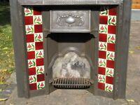 Edwardian/Victorian cast iron tiled fireplace