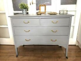 Vintage Chest of Drawers Free Delivery Ldn shabby chic light grey solid wood throughout