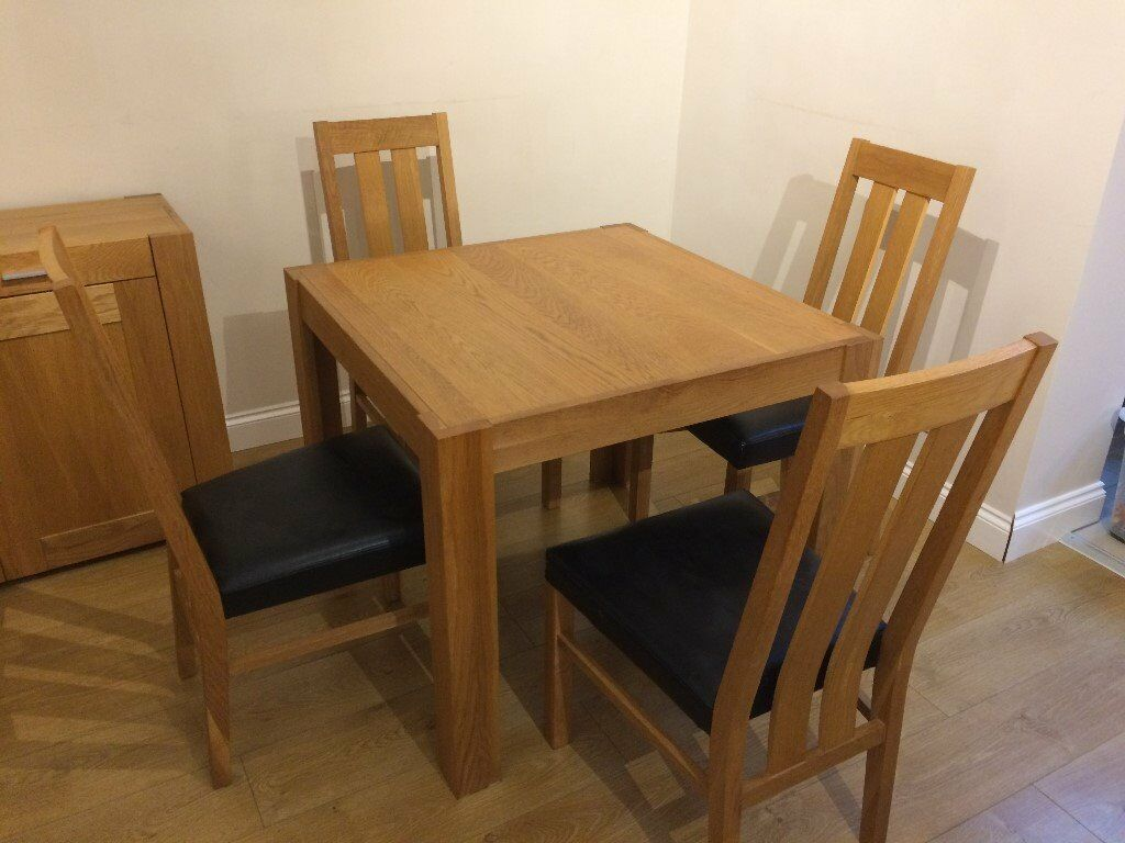 Bentley Designs Square Oak Dining Table 4 Black Leather Chairs Great Condition