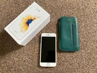 Unlocked gold iPhone 6S 16GB with mulberry phone case