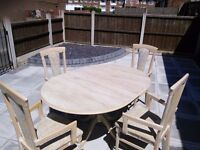 Extendable Round Dining Table & 4 Carver Chairs REDUCED!