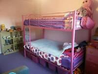 Pink heart metal bunk beds