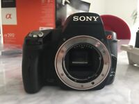 Sony A390 DSLR digital camera and 18-70mm lens c/w USB adapter, battery, battery charger all boxed