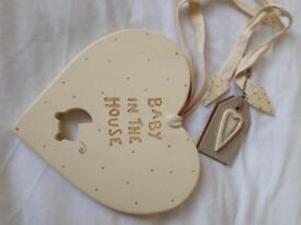 'Baby in the house' wooden heart baby gift