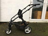 Buggy and car seat with isofix