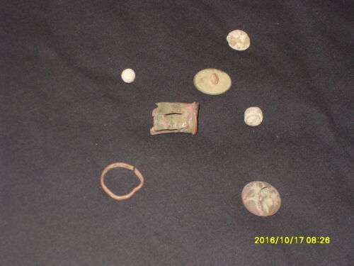 7 Dug Civil War Relics - Uni on button, ring, rifle shell, CSA Sumner County, TN