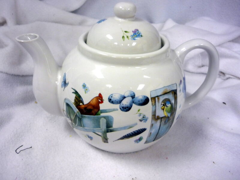 HALLMARK MARJOLEIN BASTIN BLUE SKIES TEA POT ROOSTER BLUEBIRDS BUTTERFLY FLOWER