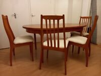 Teak style extending dining table with set of 4 maches chairs for sale