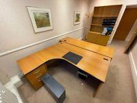 Redwood finish office L-shaped Executive desk/table