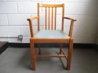 SOLID WOODEN CARVER CHAIRS WITH BLUE VINYL SEATS DINING CHAIRS KITCHEN CHAIRS £15 EACH OR £25 PAIR