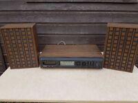 vintage 8 track player / radio and speakers hi fi
