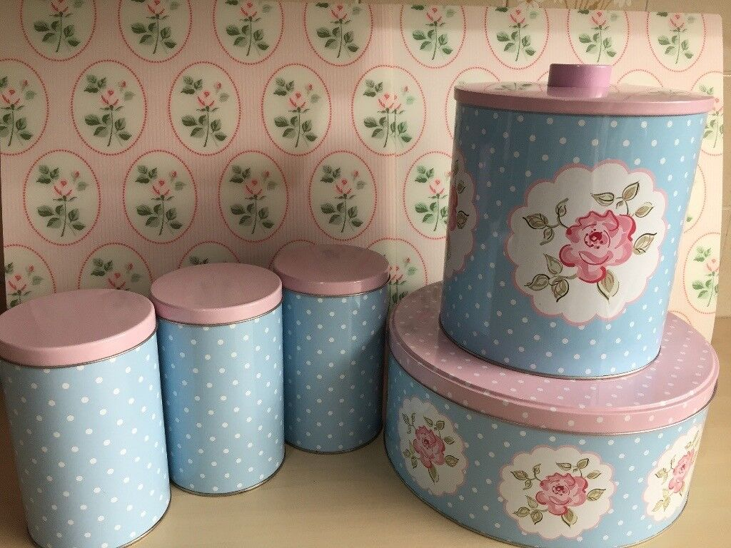 Vintage Style Shabby Chic 5 Piece Tea Coffee Sugar Canisters Biscuit