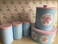 Vintage style shabby chic 5-piece tea coffee sugar canisters biscuit barrel cake tin pink blue polka