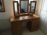 Dressing table, mirror unit and stool