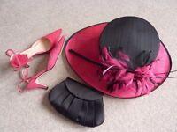 Matching Hat, Shoes and Bag, Hibiscus Pink and Black. Shoes size 5 (38)