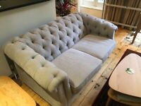 DARLINGS OF CHELSEA Sofa Wantage (Chesterfield) 2 Seater in Stain Resistant Chenille Seal Grey