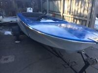 Broom classic speed boat 20hp outboard and trailer. An