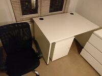 Basic office desk, drawers and chair