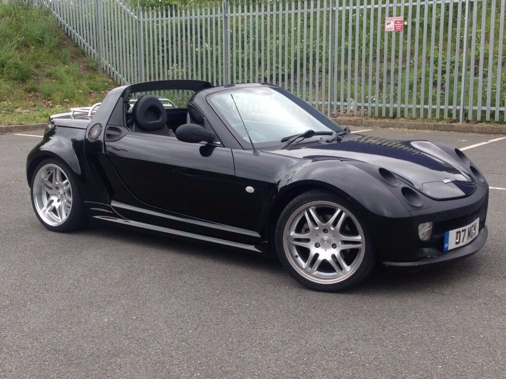 2004 jun 04 smart roadster 0 7 brabus targa 2 dr convertible auto petrol black rare. Black Bedroom Furniture Sets. Home Design Ideas