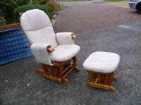 Tutti Bambini nursing rocking chair with matching foot stool