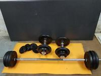 York 50kg black cast iron barbell & dumbbell set