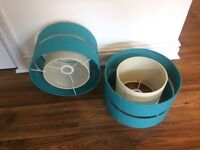 Attractive modern Dunelm turquoise lampshades
