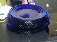 Blue glass plates.