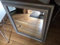 Great beveled mirror, solid wood frame, grey shabby sheek