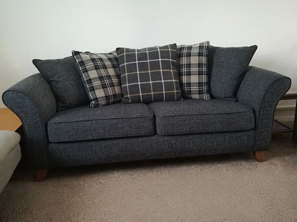Stylish 3 Seater Fabric Sofa Charcoal