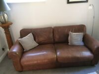 Pair of 2-Seater Brown Leather Sofas