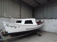 16 Foot, River Cruiser day boat, fishing boat, snipe trailer, 4 stroke outboard. Ready to enjoy.